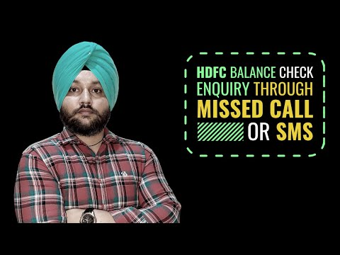 HDFC Balance Check Enquiry through Missed Call or SMS